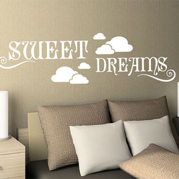 Wall Vinyl Sticker Decals Decor Art Bedroom Design Mural Sign Words Quote Sweet Dreams Clouds (z996)