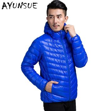 2017 Autumn New Fashion Men's Winter Jacket White Duck Down Jacket Men Ultra Light Thin Hood Parka Outerwear Plus Size 3XL YYJ4