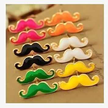 Vintage Moustache Stud Earrings