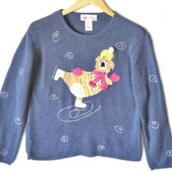 Shop Now! Ugly Sweaters: Ice Skating Koala Bear Tacky Ugly Christmas Sweater Women's Size Large (L) $28 - The Ugly Sweater Shop