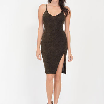 Spotted In Glitter V-Neck Midi Dress