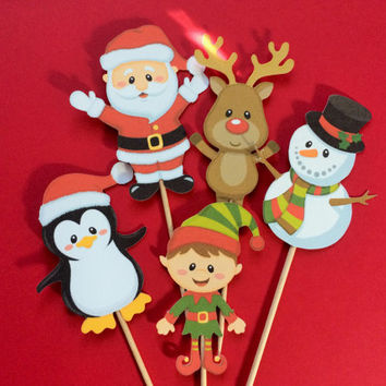 Christmas cupcake toppers, Rudolph toppers, elf toppers, Santa cupcake topper, snowman cupcake toppers, penguin toppers, Christmas topper