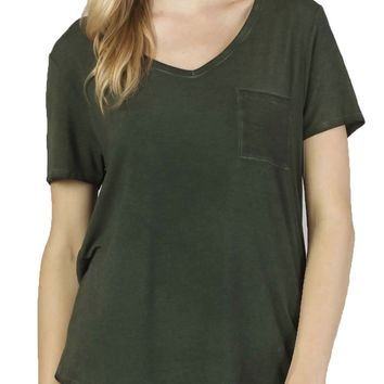 Dear John Paityn Dirty Wash V-Neck Paradise Green Tee