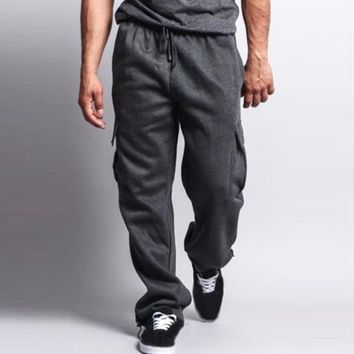 Plus Size Men Sweatpants Fashion Buggy Loose Harem Pants Autumn Winter Tracksuit Casual Sportswear Cargo Long Trousers 3XL 2018