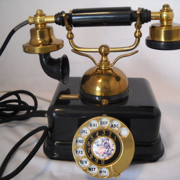 Vintage French Victorian Black Rotary Phone 1950's
