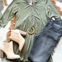 Love All Day Babydoll Tunic, Olive