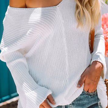 Cool And Carefree White Long Sleeve Drop Shoulder V Neck Loose Pullover Sweater