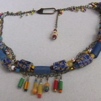 Vintage African Trade Bead and Brass Necklace