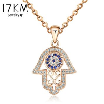 17KM 2016 Fashion Hamsa Hand Necklace Silver Color Zircon Crystal Pendants & Necklaces Women Jewelry Party Gift