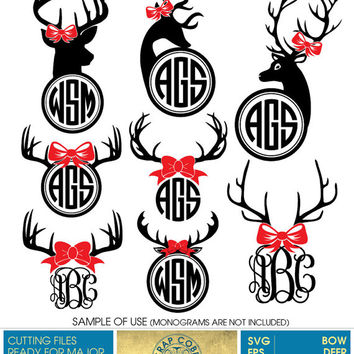 Bow Deer Antlers Monogram Frames - SVG, eps, DXF, PNG - Digital Cut Files for Silhouette, Cricuit, other electronic cutting machines cv-371