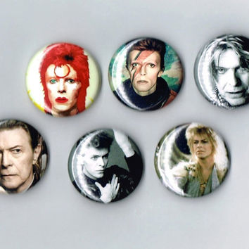 David Bowie One Inch Pin Back Pinback Button Badge Set of 6 Six The Labyrinth Jareth Ziggy Stardust Space Oddity