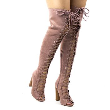Sage63 Mauve Pink By Liliana, Military Corset Combat Boots, Open Shaft & Peep Toe Stacked Block Heel