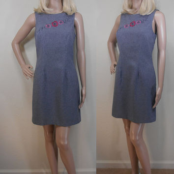 "90s, ""My Michelle"" Grey Midi Sleeveless Shift Dress, Made in USA, Unlined, Embroidered Flowers, Bust Darts, Boat Neckline, Size 5/6"