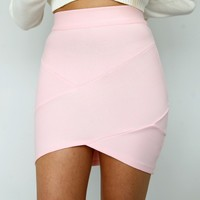 PASTEL PINK BANDAGE WRAP TUBE DISCO SKIRT 6 8 10 12