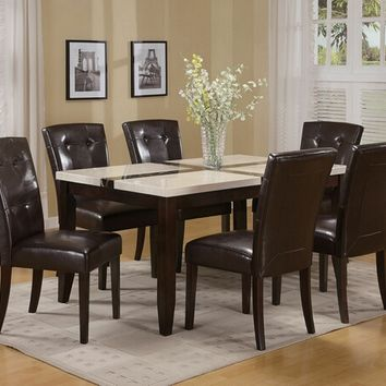 7 pc Justin collection white faux marble top with black inlay cross design dining table set with leather like vinyl upholstered chairs