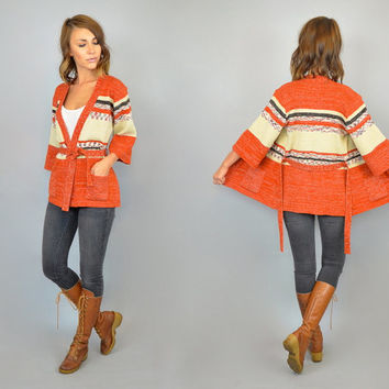 SPACE DYED vtg 70s knitted southwestern striped CARDIGAN wrap sweater, extra small