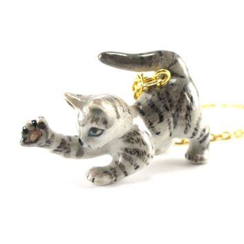 Playful Striped Kitty Cat Porcelain Hand Painted Ceramic Animal Pendant Necklace | Handmade