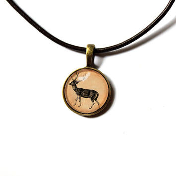 Deer pendant natural history art vintage jewelry Antique style Unisex n42