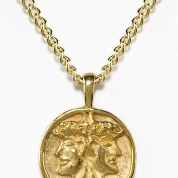 Etruscan Janus Double Headed Roman Pendant Necklace with Chain, Gold or Silver Plate - 7885X