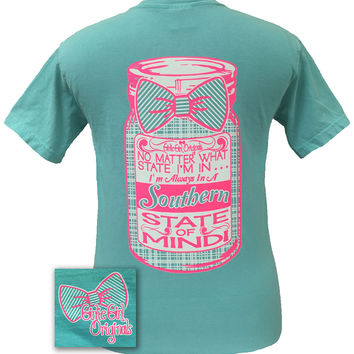 Girlie Girl Originals Preppy Southern State of Mind Mason Jar Bow Comfort Colors Bright T Shirt