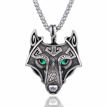 Norse Wolf Head Chain Necklace