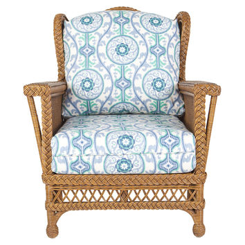 Winstchester Wicker Chair, White/Teal, Accent & Occasional Chairs