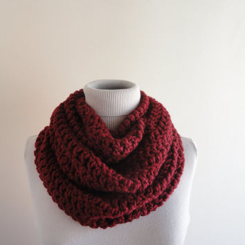 Extra Large Chunky Infinity Scarf Loop Circle Thick Scarf Unisex Women's Infinity Scarf Burgundy