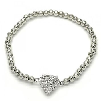 Rhodium Layered 03.207.0064.07 Fancy Bracelet, with White Micro Pave, Polished Finish, Rhodium Tone