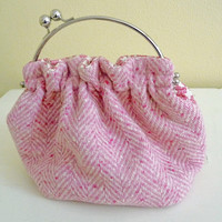 Pink Herringbone Wool Handbag, Kiss Lock Frame, Pink Wool Purse