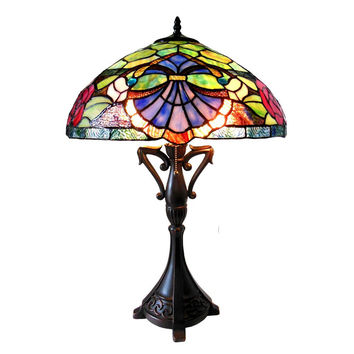 "Hannah, Tiffany-Style 2 Light Baroque/Roses Table Lamp 18"" Shade"