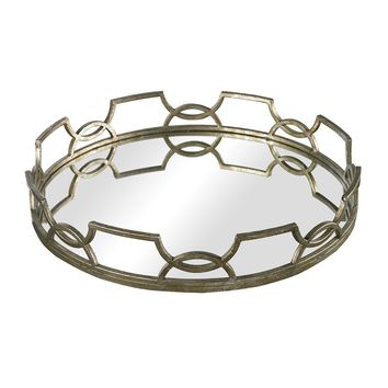Magnificent Iron Scroll Mirrored Tray, Silver
