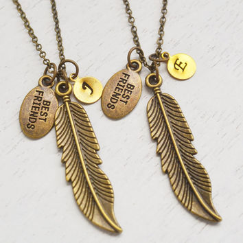 best friend necklaces set, feather necklace, angel wing necklace, friendship gift, bff, wing feather necklace, personalized sister necklace