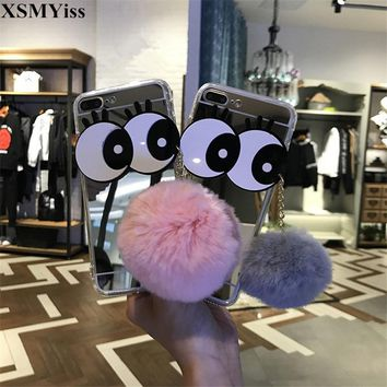 XSMYiss Cute Big Eyes With Rabbit Fur Ball Bling Mirror Case For iphone 5 5S SE 6 6S 6Plus 7 8 Plus X Soft TPU Phone Case Cover