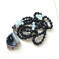 Black Agate Mala Beads, Aquamarine And Black Ebony Mala Necklace, Unique 108 Bead Mala, Gemstone And Wood Mala, Healing Mala Beads