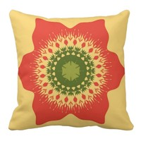 Artistic mandala on beige pillows