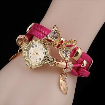 Lady Retro Butterfly Bracelet Wristwatch
