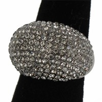 """.90"""" crystal pave cocktail stretch dome ring"""