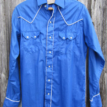 70s/80s Blue Rodeo Cowboy Shirt, Men's M-L  // Mens Vintage Country Western Shirt