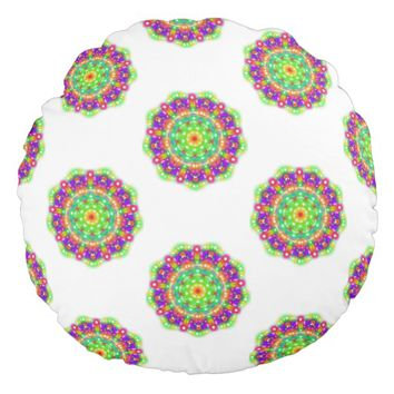 Emerald / Pink Starburst Mandala Round Pillow