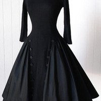 Black Pleated Double Breasted Audrey Hepburn Style Party Vintage Tutu Maxi Dress