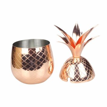 Stainless Steel Pineapple Cocktail Glass 500ML Rose Gold