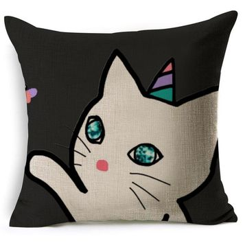European Style Cute Book Cat Party pillow Customized Throw Pillow Home Decorative Cotton Linen Square Printing Cojines no core