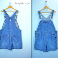 Vintage Overall Shorts / Plus Size Overalls / Denim Overall Shorts