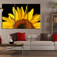 Canvas Art Yellow Sunflower - Canvas Art sunflower - Framed 3 Panel Sunflower Giclee Canvas Print