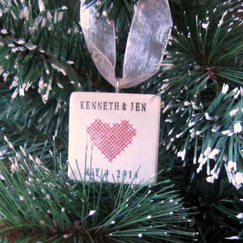 Personalized Cross Stitch Heart Ornament With Gift Box