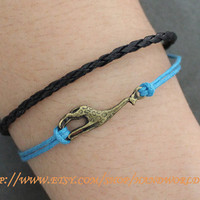 antique bronze giraffe leather bracelet by handworld