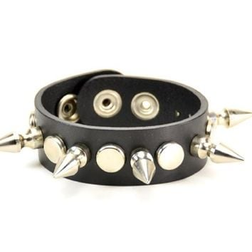 1-Row Silver Spikes & Flat Studs Black Leather Wristband Bracelet Cuff