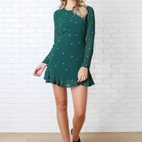 Teal Star Embroidered Dress