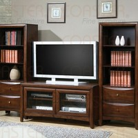 A.M.B. Furniture & Design :: Living room furniture :: Entertainment centers :: 3 pc Walnut finish wood TV stand entertainment center wall unit