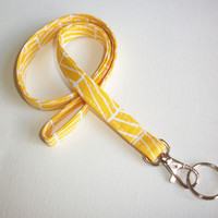 Lanyard ID Badge Holder - yellow herringbone - Lobster clasp and key ring